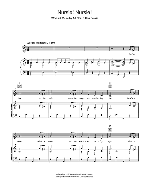 Art Noel Nursie Nursie sheet music notes and chords. Download Printable PDF.