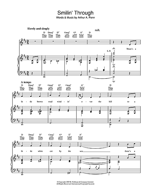 Arthur A. Penn Smilin' Through sheet music notes and chords. Download Printable PDF.