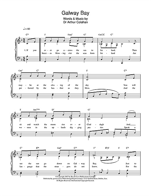 Arthur Colahan Galway Bay sheet music notes and chords