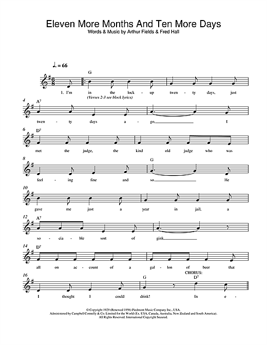 Arthur Fields Eleven More Months And Ten More Days sheet music notes and chords. Download Printable PDF.