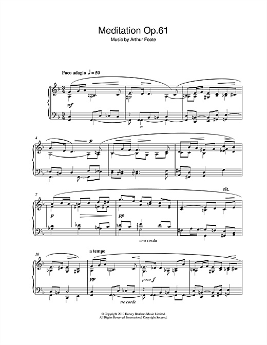 Arthur Foote Meditation Op.61 sheet music notes and chords. Download Printable PDF.