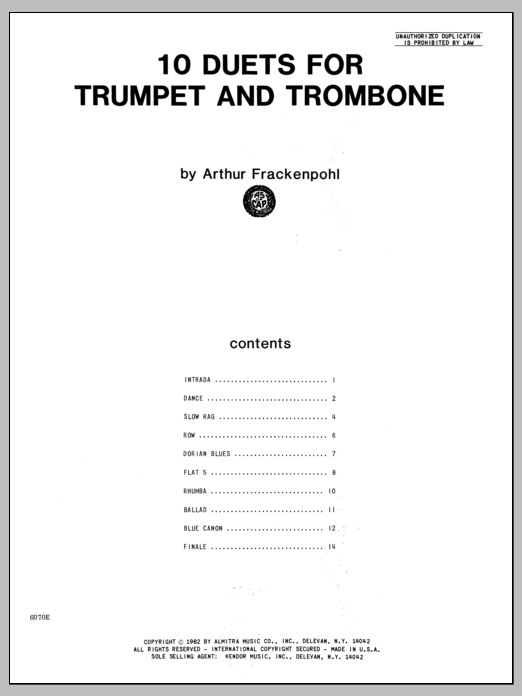 Arthur Frackenpohl 10 Duets For Trumpet And Trombone sheet music notes and chords. Download Printable PDF.