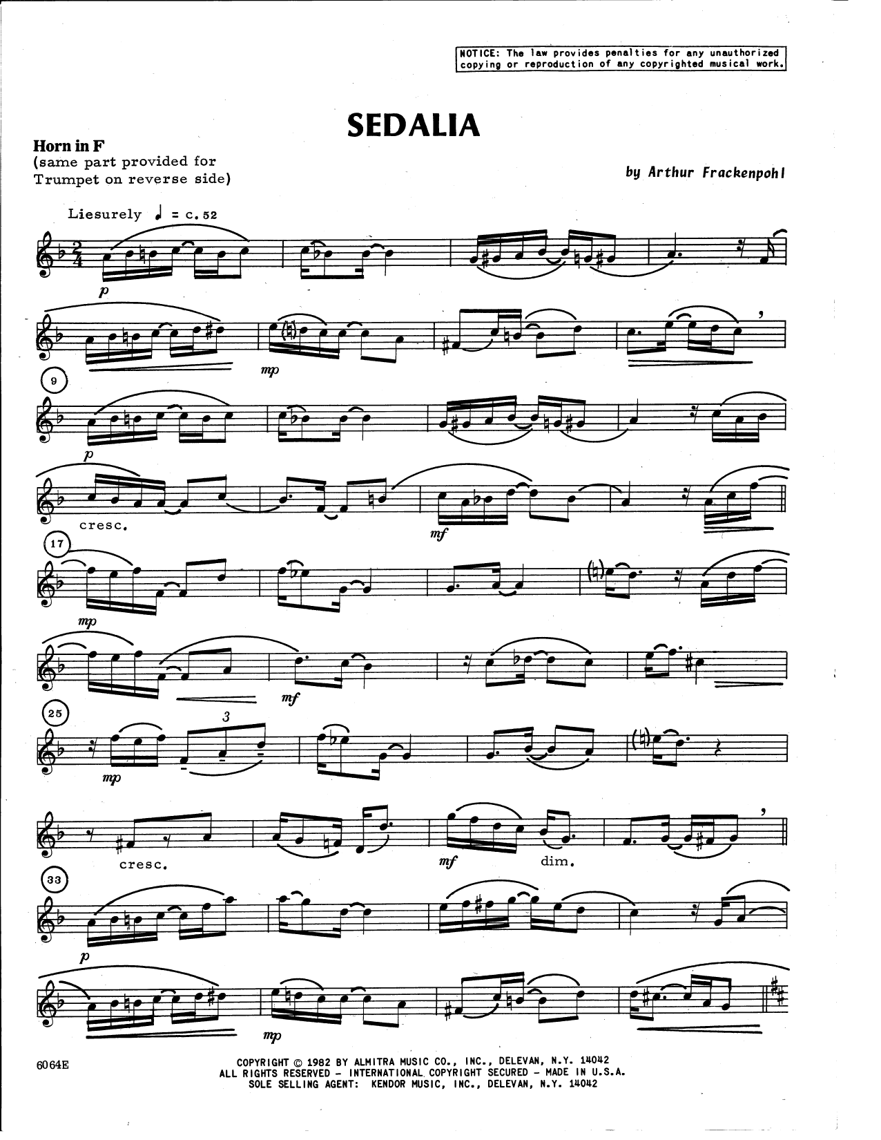 Arthur Frackenpohl Sedalia - Horn in F sheet music notes and chords. Download Printable PDF.