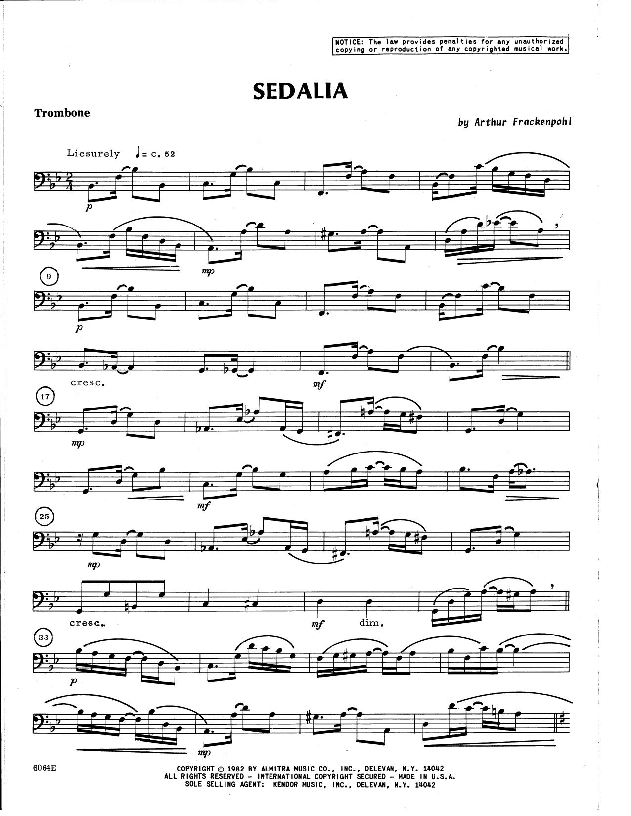Arthur Frackenpohl Sedalia - Trombone sheet music notes and chords. Download Printable PDF.