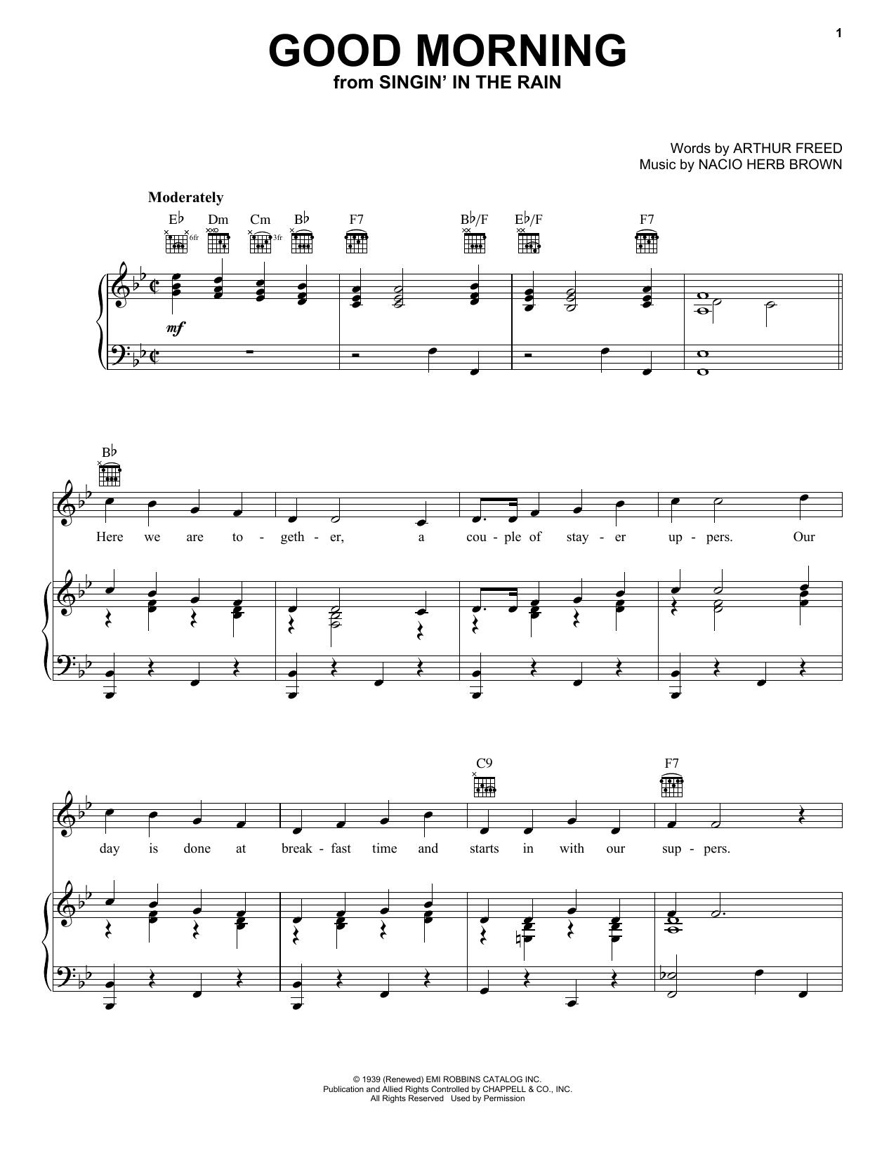 Arthur Freed Good Morning sheet music notes and chords. Download Printable PDF.