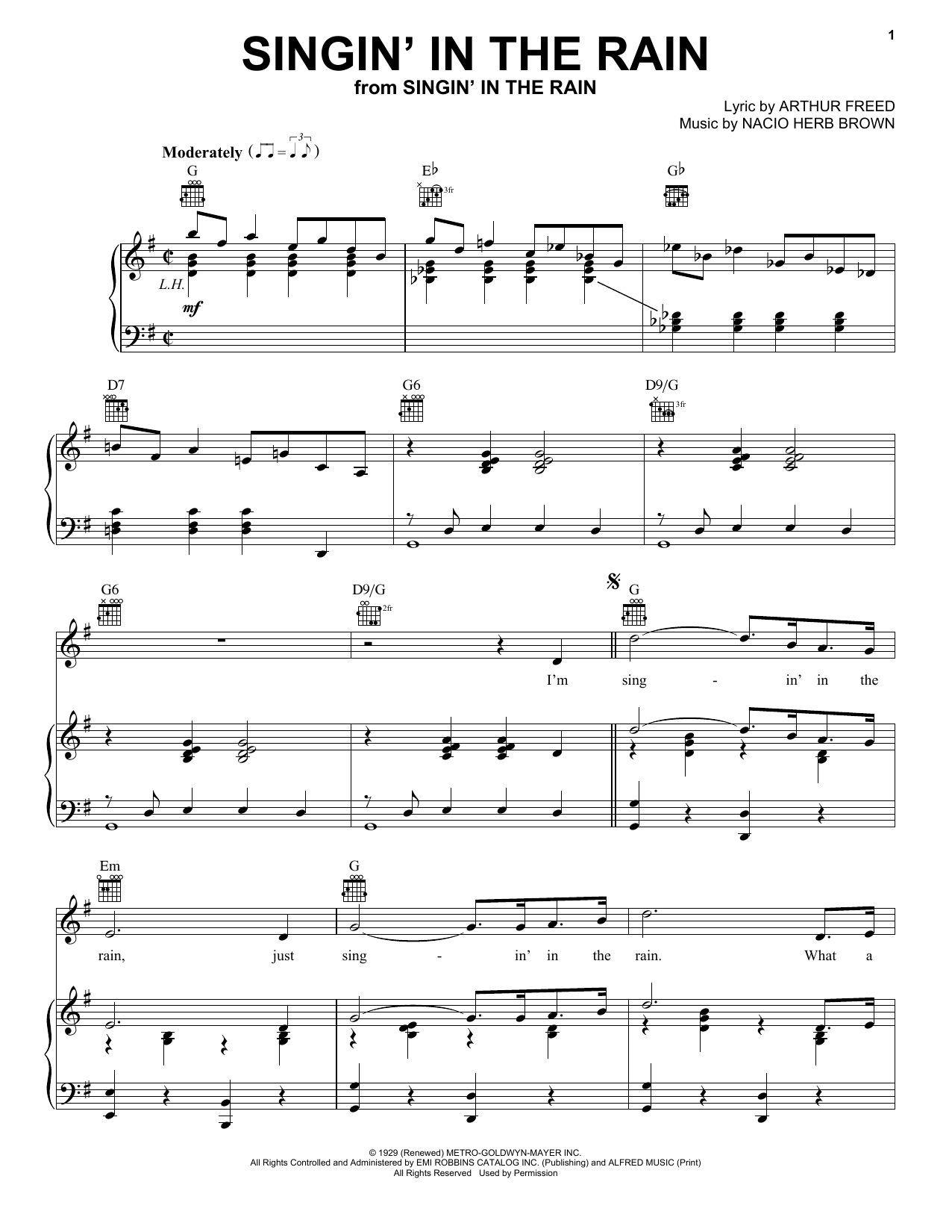 Arthur Freed Singin' In The Rain sheet music notes and chords. Download Printable PDF.