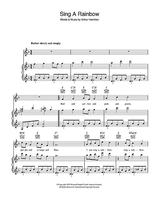 Arthur Hamilton Sing A Rainbow sheet music notes and chords