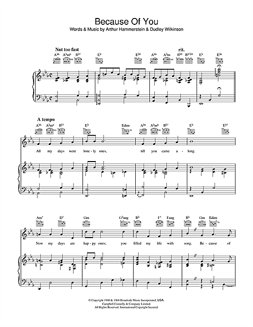Arthur Hammerstein Because Of You sheet music notes and chords. Download Printable PDF.