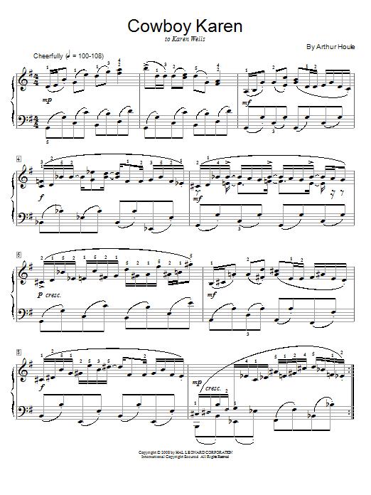 Arthur Houle Cowboy Karen sheet music notes and chords. Download Printable PDF.