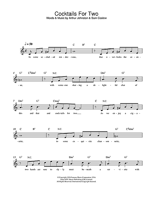 Arthur Johnston Cocktails For Two sheet music notes and chords. Download Printable PDF.