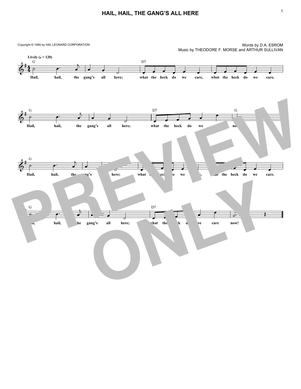 Arthur Seymour Sullivan Hail, Hail, The Gang's All Here sheet music notes and chords. Download Printable PDF.
