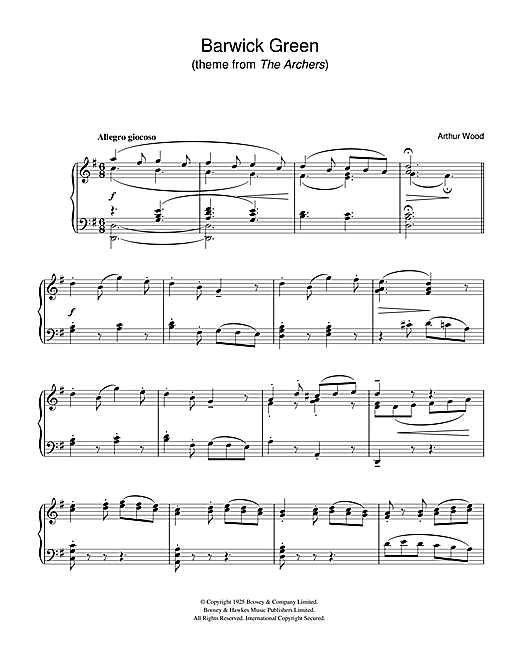 Arthur Wood Barwick Green (theme from The Archers) sheet music notes and chords. Download Printable PDF.
