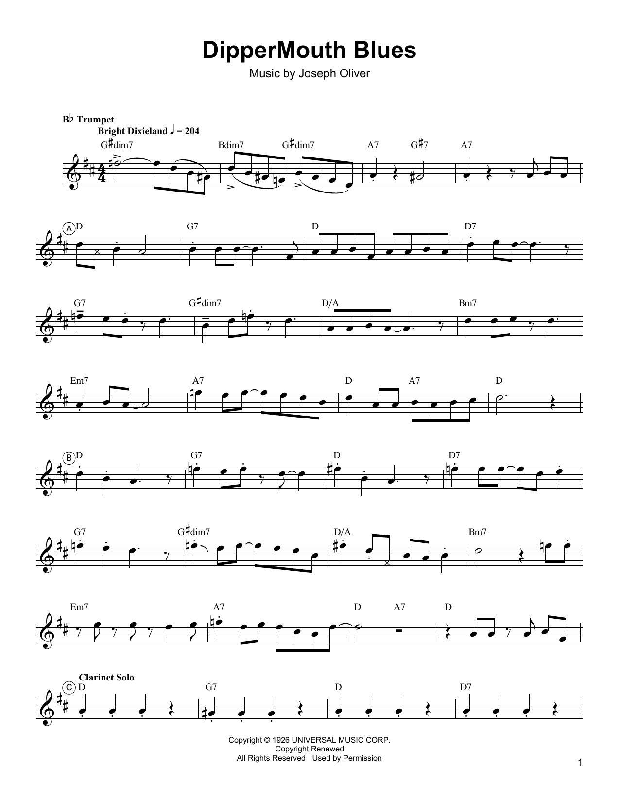 Arturo Sandoval Dippermouth Blues sheet music notes and chords