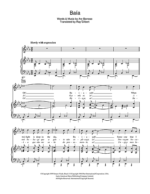 Ary Barroso Baia sheet music notes and chords