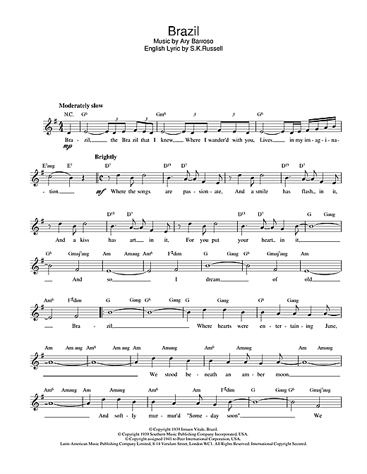 Ary Barroso Brazil sheet music notes and chords