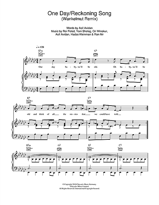 Asaf Avidan One Day/Reckoning Song (Wankelmut Remix) sheet music notes and chords