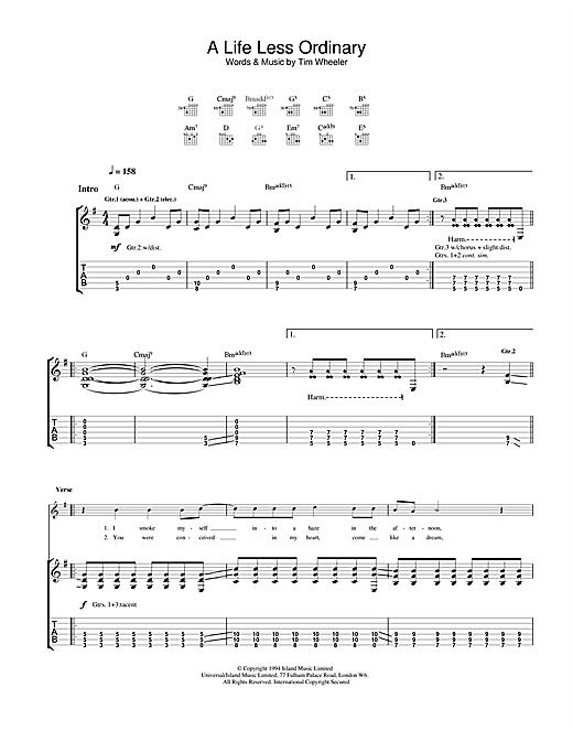 Ash A Life Less Ordinary sheet music notes and chords