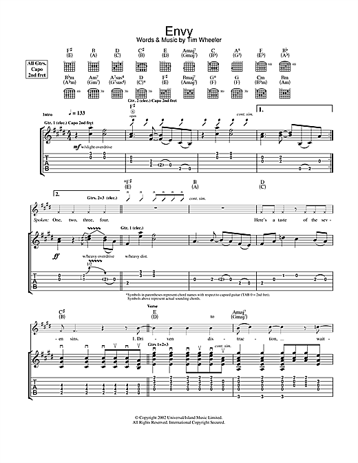 Ash Envy sheet music notes and chords