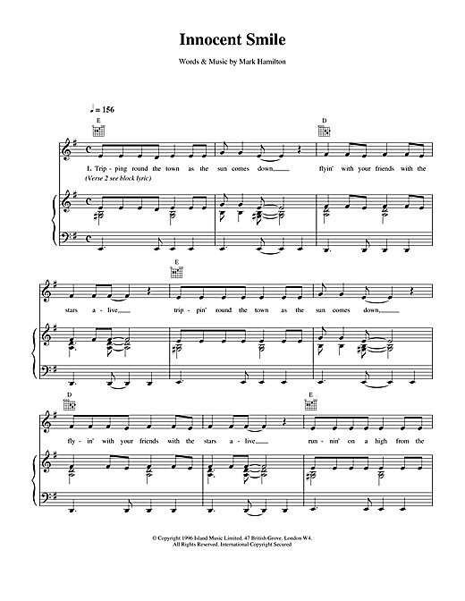Ash Innocent Smile sheet music notes and chords