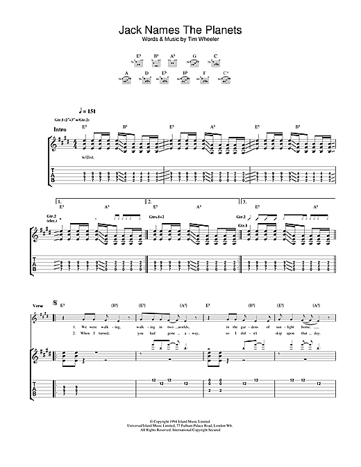 Ash Jack Names The Planets sheet music notes and chords