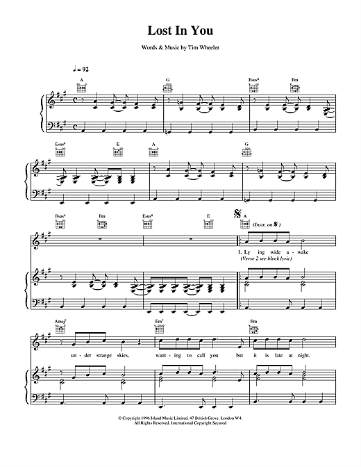 Ash Lost in You sheet music notes and chords