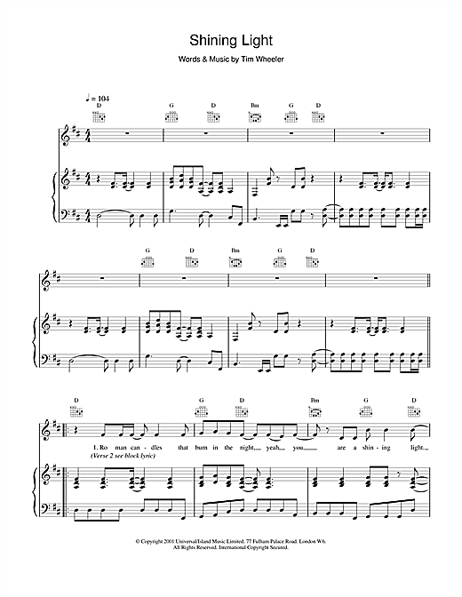 Ash Shining Light sheet music notes and chords