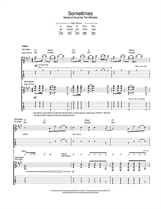 Ash Sometimes sheet music notes and chords. Download Printable PDF.