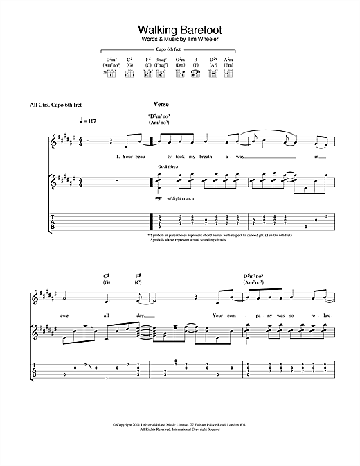 Ash Walking Barefoot sheet music notes and chords