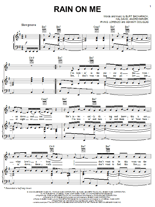 Ashanti Rain On Me sheet music notes and chords. Download Printable PDF.