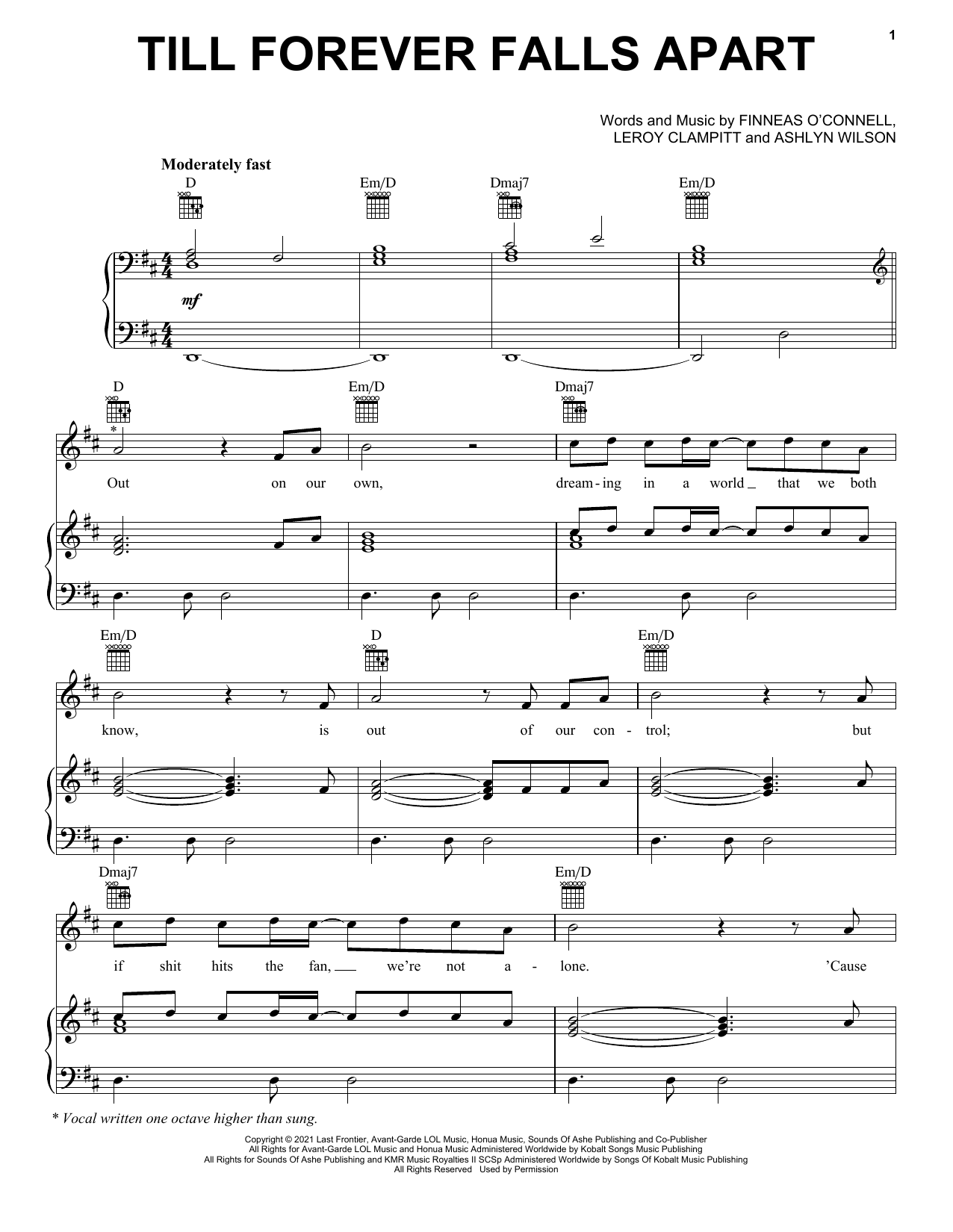 Ashe & FINNEAS Till Forever Falls Apart sheet music notes and chords. Download Printable PDF.