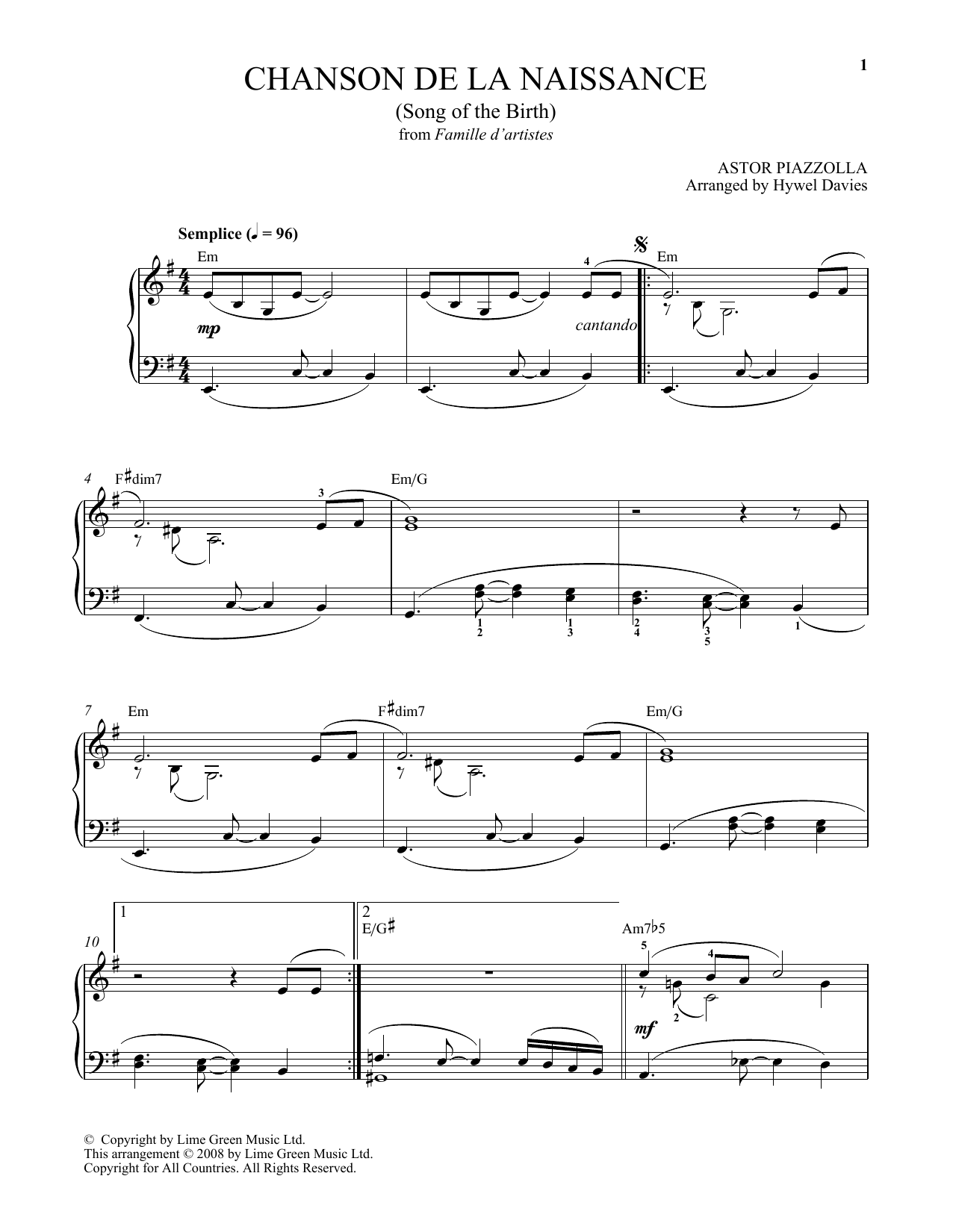Astor Piazzolla Chanson De La Naissance sheet music notes and chords. Download Printable PDF.