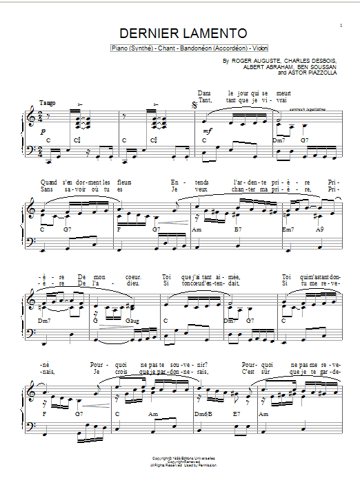 Astor Piazzolla Dernier lamento sheet music notes and chords. Download Printable PDF.