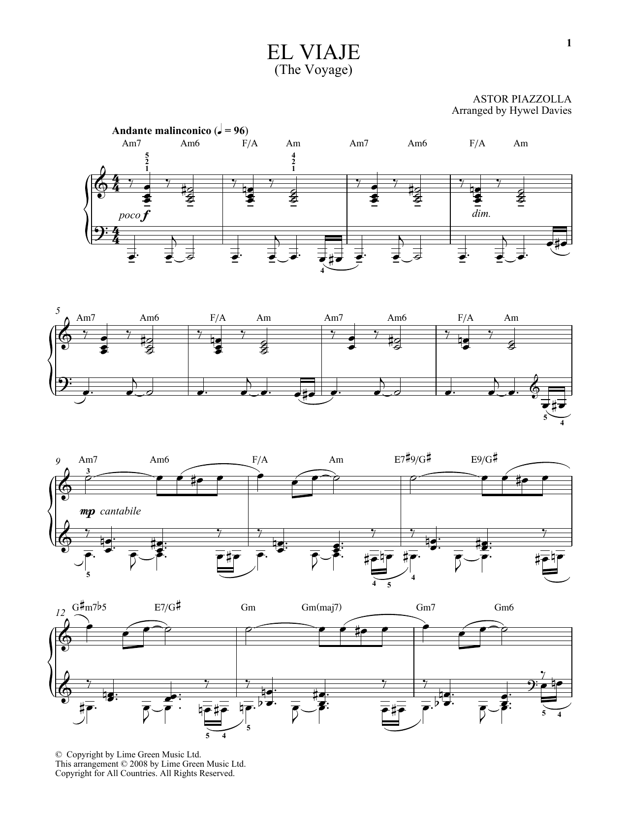 Astor Piazzolla El Viaje sheet music notes and chords