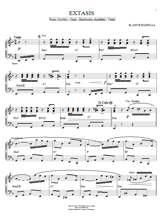 Astor Piazzolla Extasis sheet music notes and chords. Download Printable PDF.