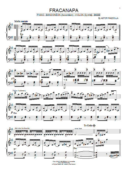 Astor Piazzolla Fracanapa sheet music notes and chords. Download Printable PDF.