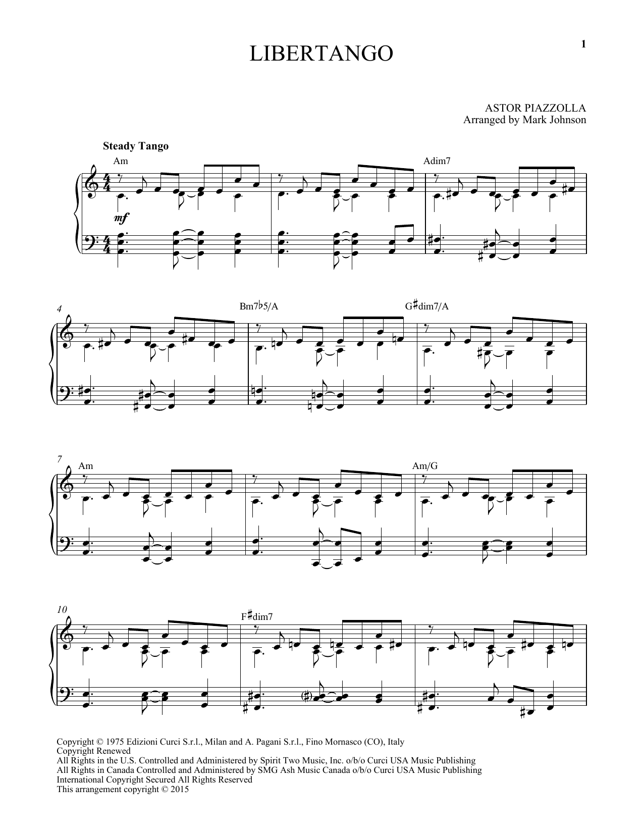 Astor Piazzolla Libertango sheet music notes and chords. Download Printable PDF.