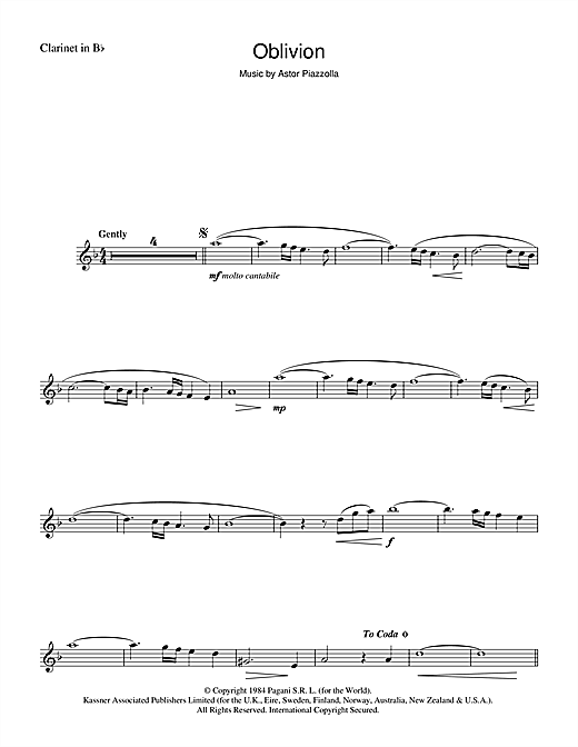 Astor Piazzolla Oblivion sheet music notes and chords. Download Printable PDF.
