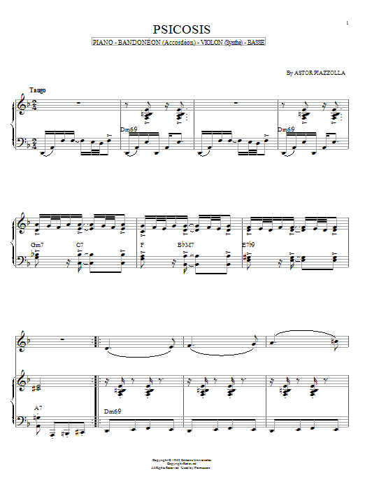 Astor Piazzolla Psicosis sheet music notes and chords. Download Printable PDF.