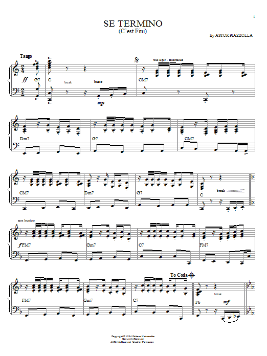 Astor Piazzolla Se Termino (C'est fini) sheet music notes and chords. Download Printable PDF.