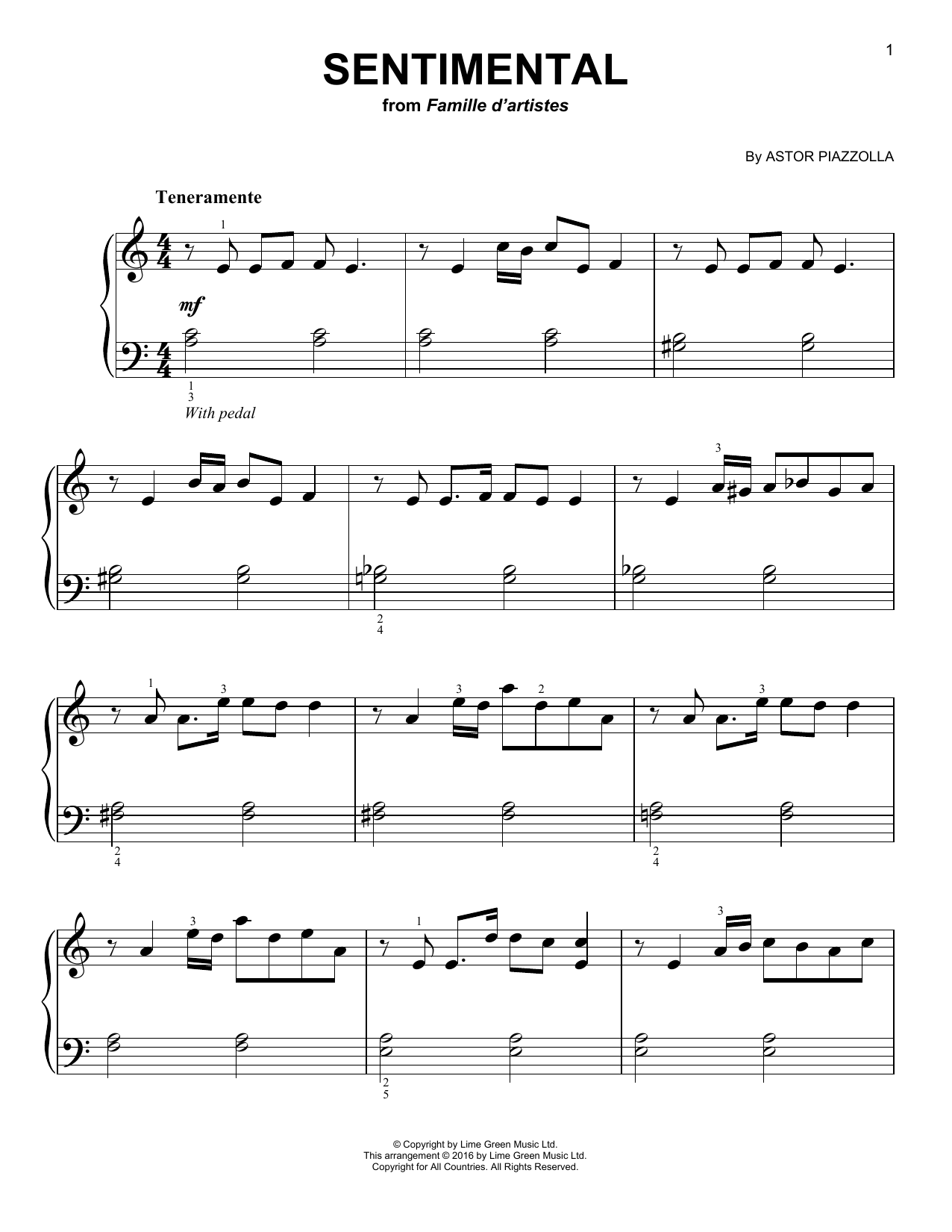 Astor Piazzolla Sentimental sheet music notes and chords. Download Printable PDF.