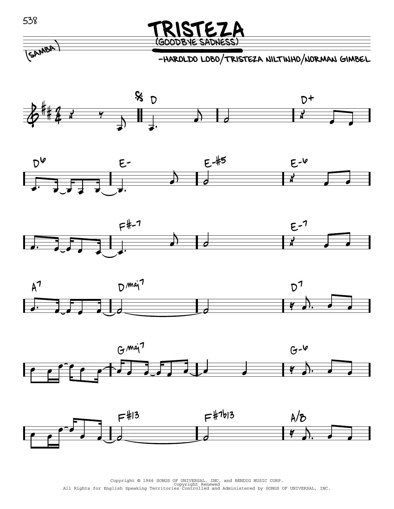 Astrud Gilberto Goodbye Sadness sheet music notes and chords. Download Printable PDF.