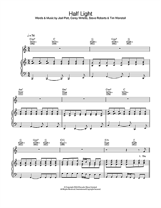 Athlete Half Light sheet music notes and chords