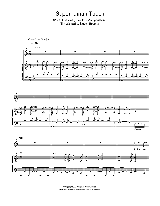 Athlete Superhuman Touch sheet music notes and chords. Download Printable PDF.