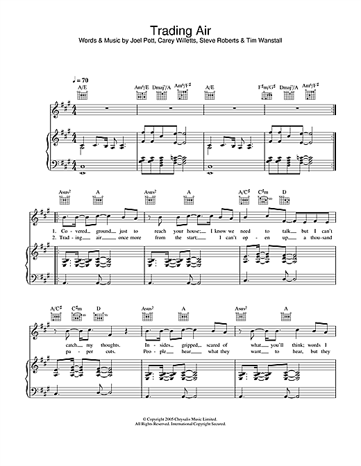 Athlete Trading Air sheet music notes and chords. Download Printable PDF.