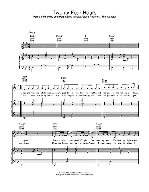 Athlete Twenty Four Hours sheet music notes and chords. Download Printable PDF.