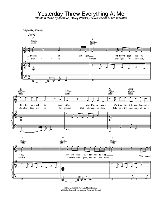 Athlete Yesterday Threw Everything At Me sheet music notes and chords. Download Printable PDF.