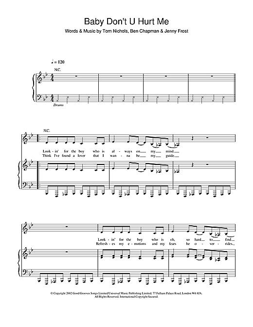 Atomic Kitten Baby Don't U Hurt Me sheet music notes and chords