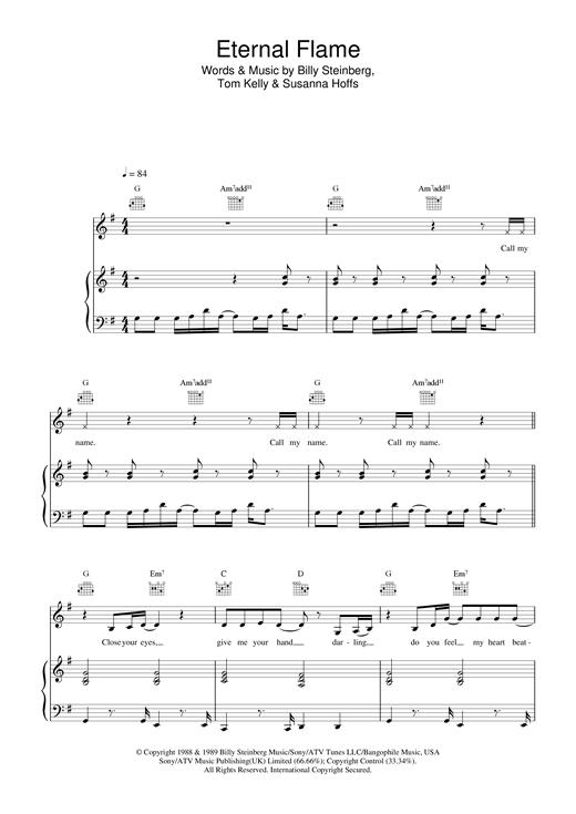 Atomic Kitten Eternal Flame sheet music notes and chords