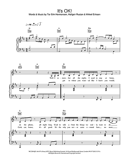 Atomic Kitten It's OK! sheet music notes and chords