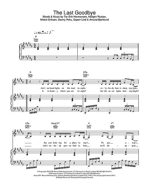 Atomic Kitten The Last Goodbye sheet music notes and chords. Download Printable PDF.